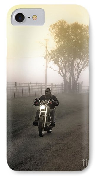 Early Rider In Fog IPhone Case by Robert Frederick