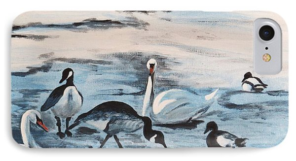 Early Spring Thaw With Ducks And Geese IPhone Case by Judy Via-Wolff