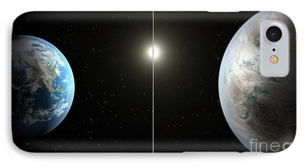 Earth And Exoplanet Kepler-452b IPhone Case by Science Source