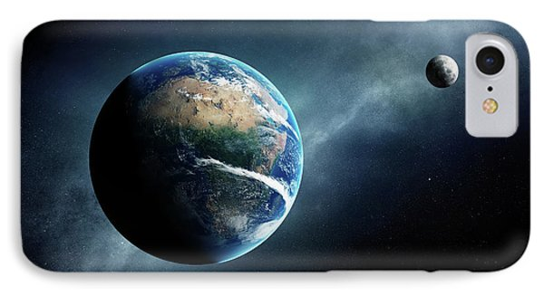 Earth And Moon Space View IPhone Case by Johan Swanepoel