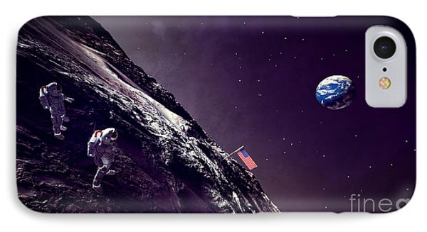 Earth Rise On The Moon IPhone Case by Methune Hively