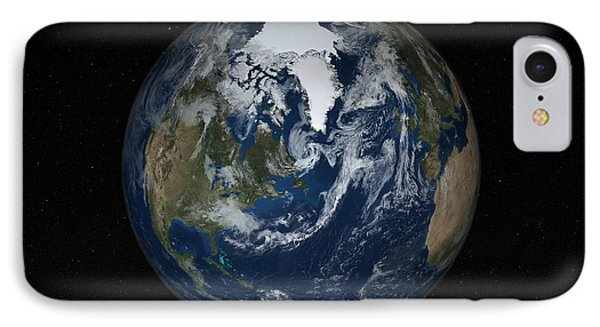 Earth With Clouds And Sea Ice IPhone Case by Stocktrek Images