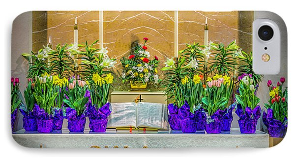 IPhone Case featuring the photograph Easter Alter And Flowers by Nick Zelinsky