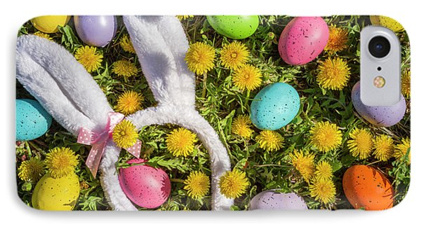 IPhone Case featuring the photograph Easter Eggs And Bunny Ears by Teri Virbickis