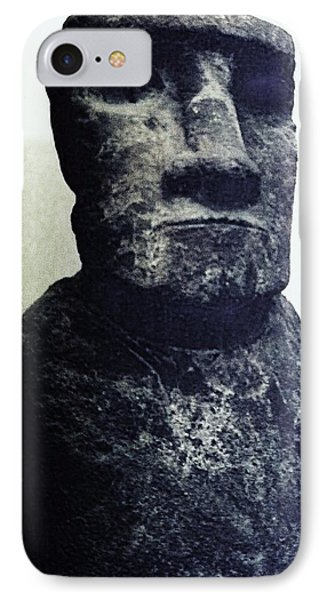 IPhone Case featuring the painting Easter Island Stone Statue by Eric  Schiabor