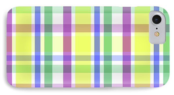 IPhone Case featuring the digital art Easter Pastel Plaid Striped Pattern by Shelley Neff