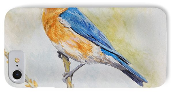 IPhone Case featuring the painting Eastern Mountain Bluebird by Robert Decker