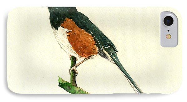 Eastern Towhee Bird IPhone Case by Juan  Bosco