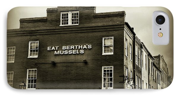 Eat Berthas Mussels In Black And White IPhone Case by Paul Ward