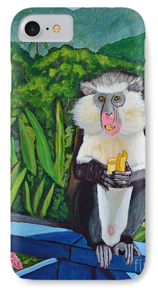 IPhone Case featuring the painting Eating A Banana by Laura Forde