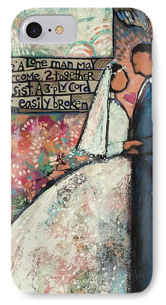 Ecclesiastes 4 12 Wedding Art IPhone Case by Jen Norton