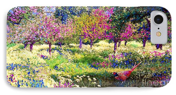 Echoes From Heaven, Spring Orchard Blossom And Pheasant IPhone Case by Jane Small