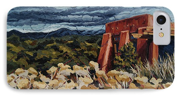 IPhone Case featuring the painting Echoes Of Tularosa, Museum Hill, Santa Fe, Nm by Erin Fickert-Rowland