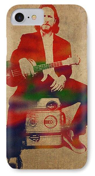 Pearl Jam iPhone 7 Case - Eddie Vedder Pearl Jam Watercolor Portrait by Design Turnpike
