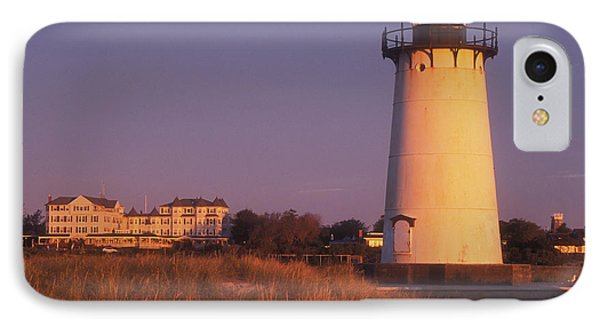 Edgartown Lighthouse And Mansion Phone Case by John Burk