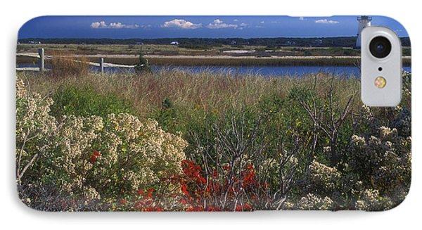 Edgartown Lighthouse Autumn Flowers Phone Case by John Burk