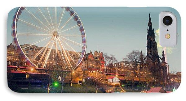 Edinburgh And The Big Wheel IPhone Case by Ray Devlin