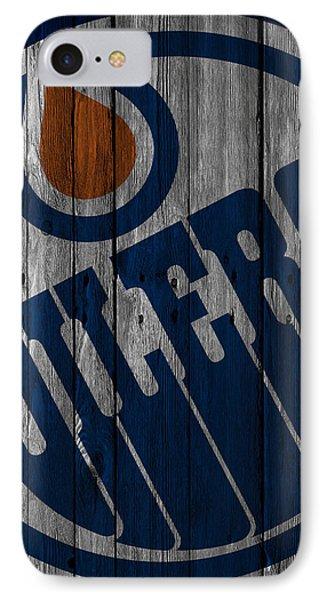 Edmonton Oilers Wood Fence IPhone Case by Joe Hamilton