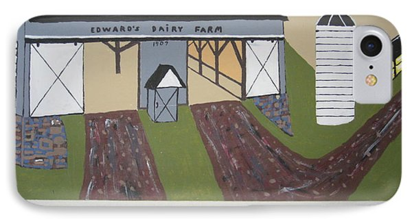 IPhone Case featuring the painting Edwards Dairy Farm by Jeffrey Koss