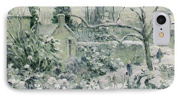 Effect Of Snow With Cows At Montfoucault Phone Case by Camille Pissarro
