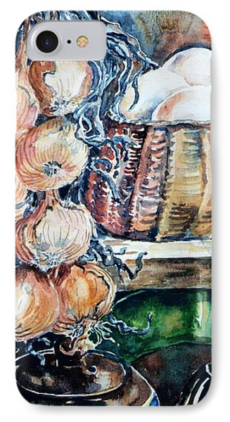 IPhone Case featuring the painting Eggs And Onions In The Larder  by Trudi Doyle
