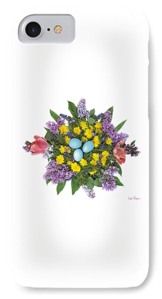 IPhone Case featuring the photograph Eggs In Dandelions, Lilacs, Violets And Tulips by Lise Winne