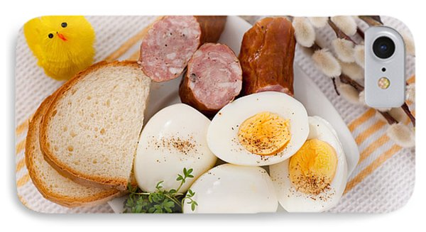 Eggs With Bread And Sausage Easter Food  IPhone Case