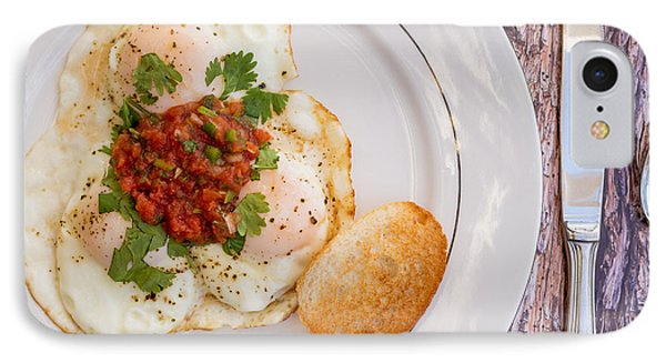 Eggs With Salsa And Toast #1 IPhone Case by Jon Manjeot