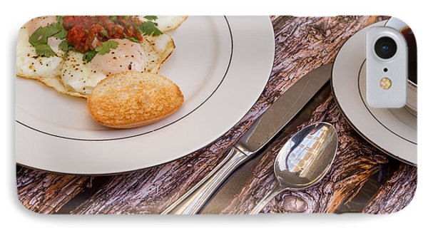 Eggs With Salsa And Toast #2 IPhone Case by Jon Manjeot