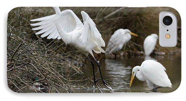 IPhone Case featuring the photograph Egret Exit by George Randy Bass