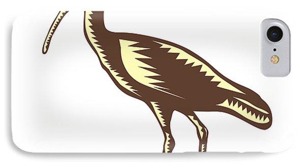 Egret Heron Crane Side Woodcut IPhone Case by Aloysius Patrimonio