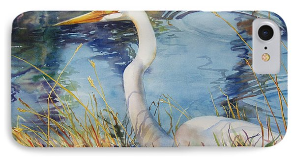 Egret In Cameron Marsh Phone Case by Sue Zimmermann