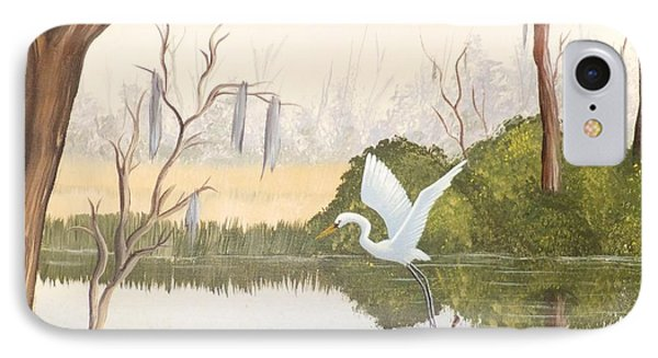 Egret In Flight 1 IPhone Case by Denise Fulmer