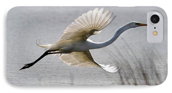 Egret In Flight IPhone Case by Ann Bridges