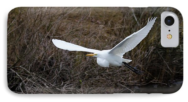 Egret In Flight IPhone Case by George Randy Bass