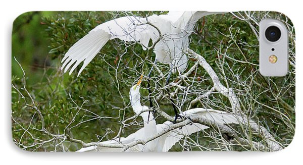 Egret Rumble IPhone Case by George Randy Bass