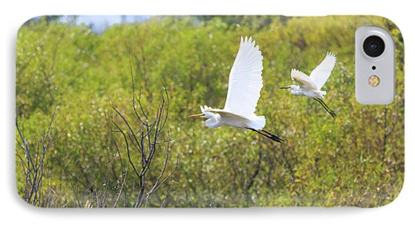 IPhone Case featuring the photograph Egrets In Flight by Jennifer Casey