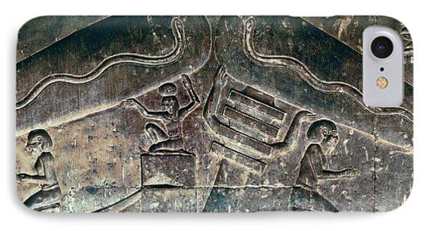 Egyptian Dendera Lightbulbs Sculpture IPhone Case by Daniel Hagerman