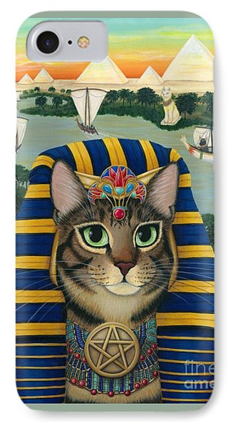 IPhone Case featuring the painting Egyptian Pharaoh Cat - King Of Pentacles by Carrie Hawks