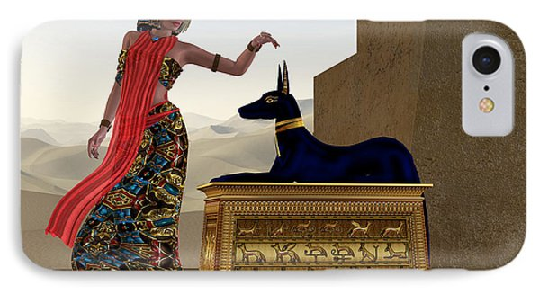 Egyptian Woman And Anubis Statue Phone Case by Corey Ford