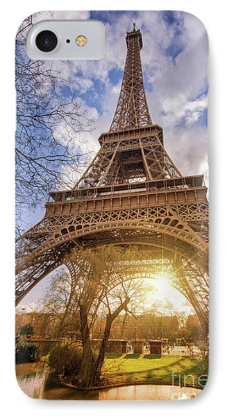 IPhone Case featuring the photograph Eiffel Sunset by Delphimages Photo Creations