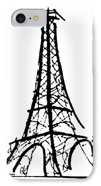 Eiffel Tower Black And White Phone Case by Robyn Saunders