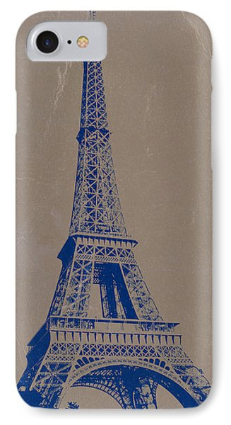 Eiffel Tower Blue IPhone 7 Case by Naxart Studio