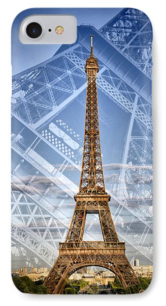 Eiffel Tower Double Exposure II IPhone Case by Melanie Viola