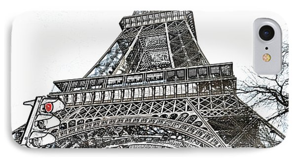 Eiffel Tower First And Second Floor Perspective With Red Stoplight Colored Pencil Digital Art IPhone Case by Shawn O'Brien