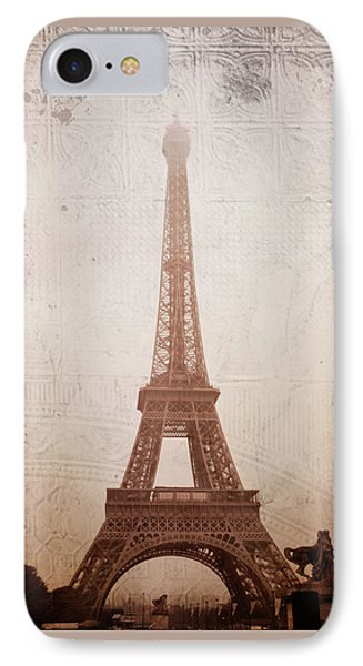 IPhone Case featuring the digital art Eiffel Tower In The Mist by Christina Lihani