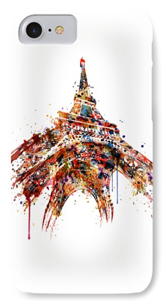 Eiffel Tower Watercolor IPhone Case by Marian Voicu