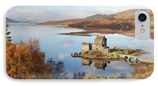 IPhone Case featuring the photograph Eilean Donan Castle Panorama In Autumn by Grant Glendinning