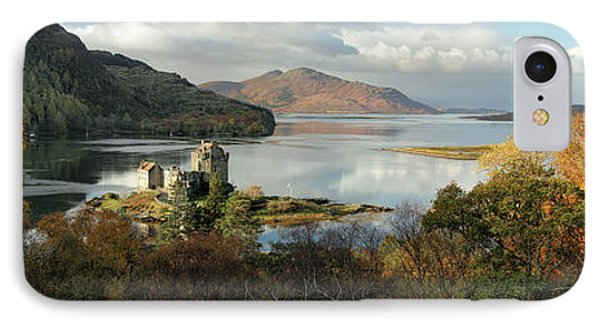 IPhone Case featuring the photograph Eilean Donan Panorama - Autumn by Grant Glendinning