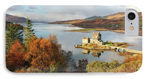 IPhone Case featuring the photograph Eilean Donan Reflection In Autumn by Grant Glendinning